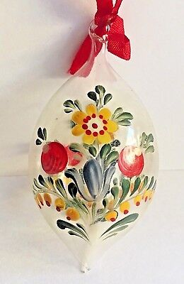 Tole Painted Glass Christmas Ornament Teardrop Folk Art Flowers Tulip Clear Vntg