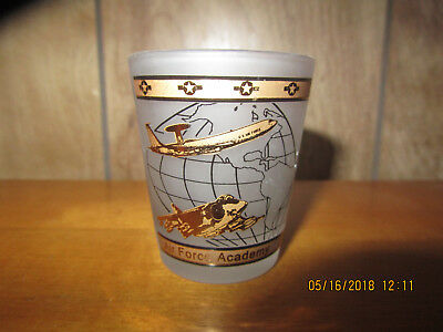 Air Force Academy Shot Glass, Gold World and Jets