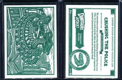 2015 Topps Mars Attacks Occupation Dinosaurs Woodcut Complete 4 Card Set (C)