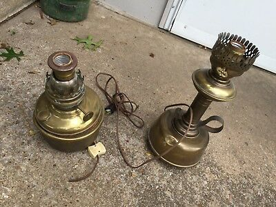 2 Vintage Ornate Success Brass Oil Lamp Converted To Electric Parts Not Working