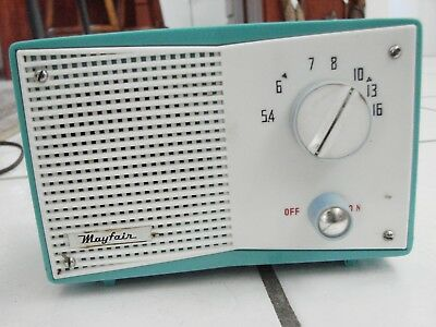 VINTAGE 50's Small Table Top Radio Mayfair Baby Blue needs new cord, Japan