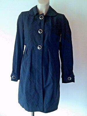 Red Herring Maternity Black Cotton Mac Coat Jacket Size 8