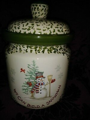 We Can Build A Snowman, Cookie Jar, Stoneware, Spongeware