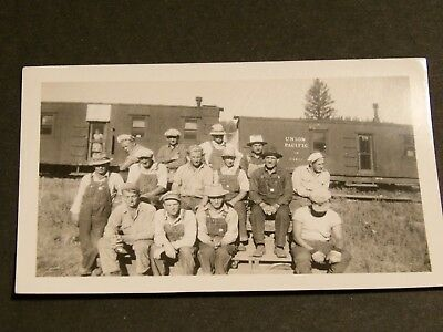 Original Vintage black and white  Railroad  workers Steam Train Engine  photo