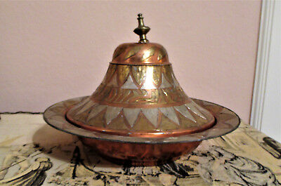 Antique Moroccan / Islamic Copper Tagine with Silver and Brass Panels