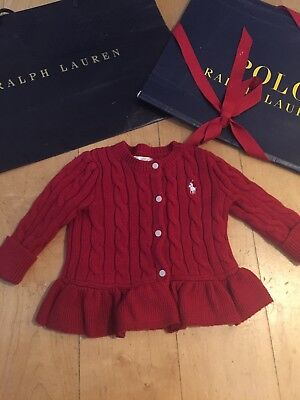Ralph Lauren Designer Baby Girls Red Peplum Cardigan Jumper White Logo 6-9m