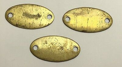 "Lot Of 3 Antique Vintage Brass Furniture Drawer Keyhole Cover Oval Plate 2"" x 1"""