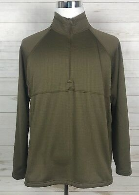 Military PCU Level 2 Coyote Brown L/S Waffle Knit Shirt 1/4 Zip Sekri Top Sz L