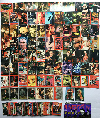 136pc Complete Hammer Horror Cornerstone Trading Cards/ wrappers & 2 Chase Cards