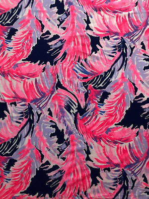 New Lilly Pulitzer Authentic Pima Cotton Fabric True Blue Paradise 1 7y 62 X 60