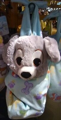 Disney Parks Baby Lady and the Tramp Scamp Puppy Plush Blanket Pouch Babies Nwt