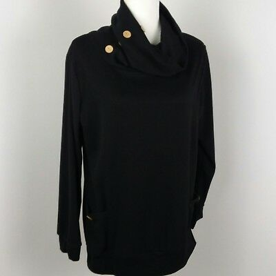 Leo Rosi Womens Sweater Large Black Cowl Neck Buttons Pullover Pockets L/S