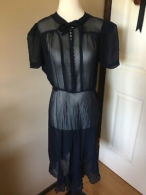 Vintage 1940s Sheer Navy Button Up Bow Dress 1930s