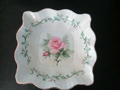 Vintage Fine Bone China Rosina Candy Dish Square Pink Rose Made in England Bowl