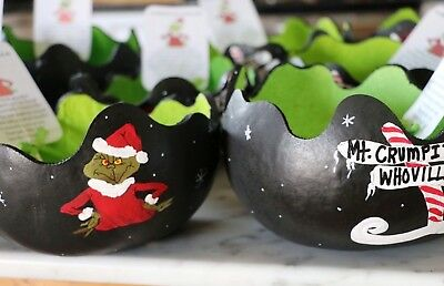 "Black Snowflake Grinchy Gourd Bowls 8-10"" Wide. With Green Mints Signed"