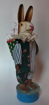 Artist Made Paper Mache & Wood Rabbit Doll Candy Container W/ Squeaker