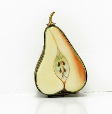 Limoges France Peint Main PV Red French Pear & Seeds Porcelain Trinket Pill Box