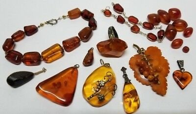 Vintage Natural Honey Butterscotch Amber Pendant Brooch Loose Beads Necklace Lot