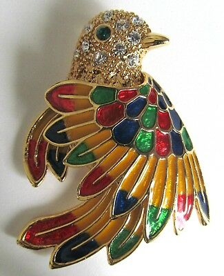 Large Vintage Enamel Bird Brooch Decorated With Enamel And Clear Rhinestones.
