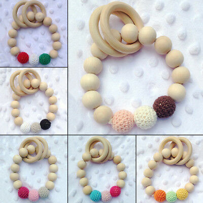 Wood Wooden Baby Teether Bracelet Crochet Bead Teething Ring Play Chewing Toys