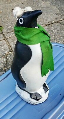 Christmas blowmold Vintage 22 inch Penguin Union Green scarf and Cane   lighted