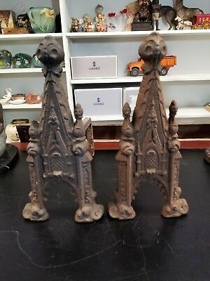 Extremely Rare Antique 19th Century Gothic Revival Cast Iron Fireplace Andirons