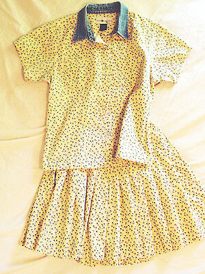 Vintage 80s yellow floral print summer outfit mini skirt + top denim collar 16