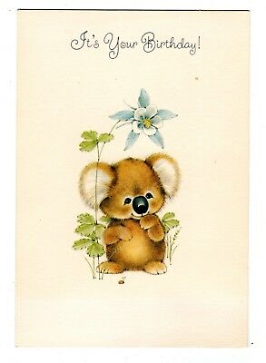 Vintage Hallmark Birthday Greeting Card KOALA BEAR 1980's