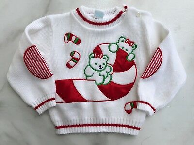 Vintage Baby Christmas Sweater Appliquéd White Red BRIGHT FUTURE Bear 24 Months