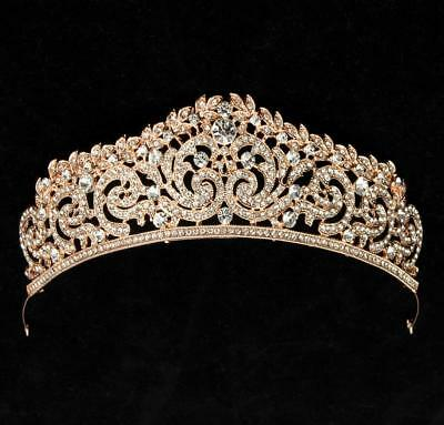 clear Austrian crystal rhinestone hair headband crown tiara pageant silver gold