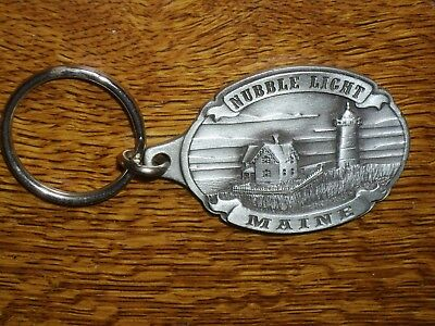 Nubble Light KEYCHAIN collectible Maine lighthouse PEWTER Made in Canada