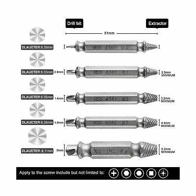 5pcs Screw Extractor Drill Bits Guide Set Broken Damaged Bolt Remover Easy Out