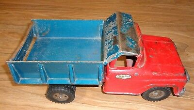 Vintage 1960s Tonka Dump Truck Rare Blue & Red Nice Condition Moderate Restore