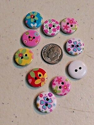 "Lot of 20 FLORAL White Wooden Buttons 5/8"" (15mm) Scrapbook Crafts (2003) Flower"