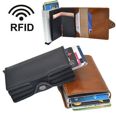 Double Layer Leather RFID Blocking Purse Credit Card Holder Money Cash Wallet UK