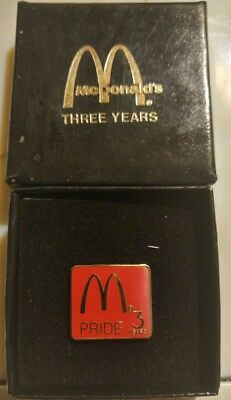 McDonalds Employee 3 Years of Service Lapel Tac Pin NEW in Box & FREE Shipping