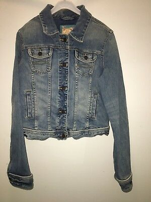 Vintage Abercrombie And Fitch Women's/Juniors Slim Fit Destroyed Jeans Jacket LG