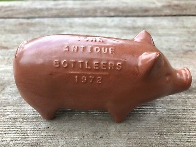 Vintage 1972 Iowa Antique Bottleers Figural Pig Art Pottery Bottle