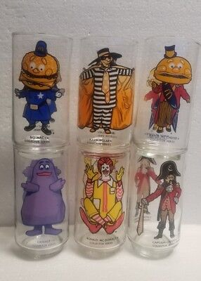 McDonalds 1970s Complete Set Of 6 McDonalds Series Glasses