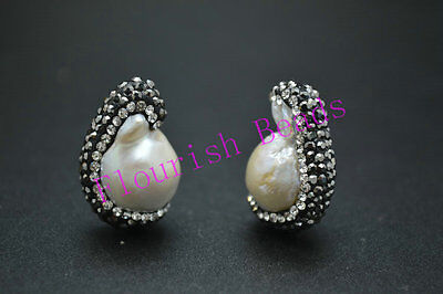 2pc Unique Natural Fresh Water Pearl Baroque Loose Beads for Jewelry Necklace