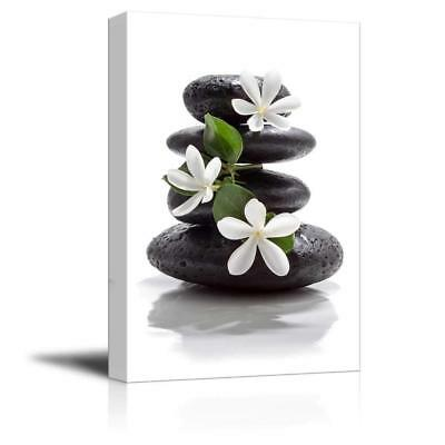 "Wall26 - Zen Basalt Stones with Calming Magnolia Flowers - CVS - 32"" x 48"""