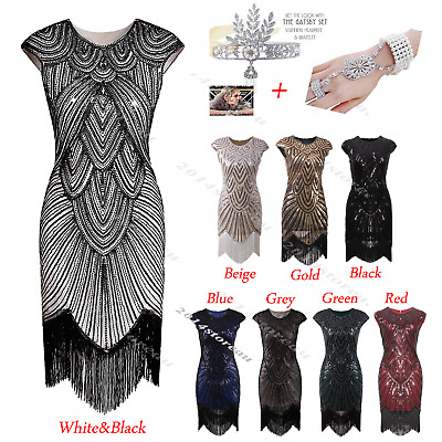Great Gatsby 1920s Flapper Dress Vintage Fringe Dresses 20s Costume Sequin Party