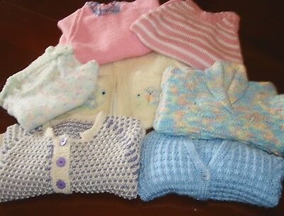 Bulk Lot of VINTAGE HAND KNITTED Girls/Baby Jumpers/Cardigans