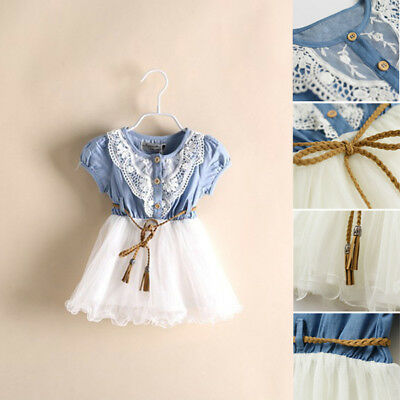 Toddler Kid Baby Girl Tulle Tutu Skirt Sleeveless Denim Lace Summer Dress 1-7T