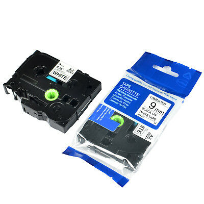 US STOCK 2PK Black on White Label Tape for Brother TZ Tze 221 TZe221 9mm P-Touch