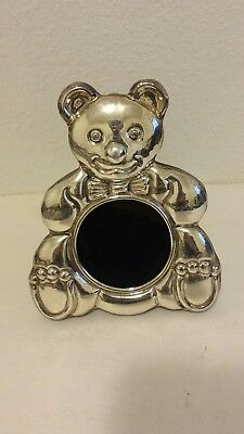 Sitting Smiling Happy Baby Bear 950 Sterling Silver Picture Frame Wood Bow-Tie
