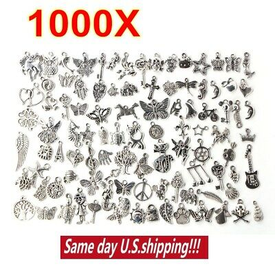 Wholesale 100-1000pcs Bulk Lot Tibetan Silver Mix Charm Pendants Jewelry DIY