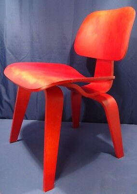 Authentic Eames Office Herman Miller Dcw Chair Red Ash Bent Plywood Nos 1025.00