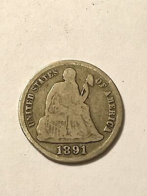 1891 S Seated One Dime