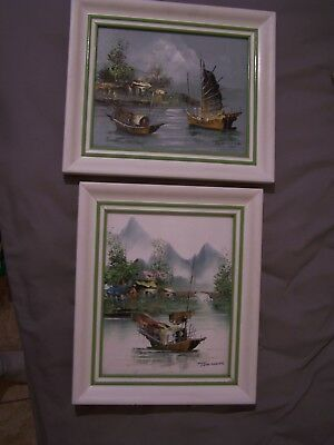 2 Vintage Oil Painting's By Tom Wong Signed Boats Hong Kong Scene Framed